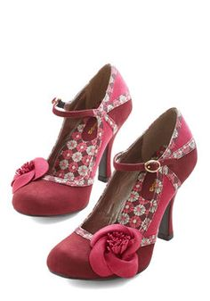 Garden of Possibilities Heel in Merlot. How will you style these buckled Mary Janes today? #red #modcloth