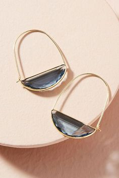 Slide View: 1: Crescent Hoop Earrings