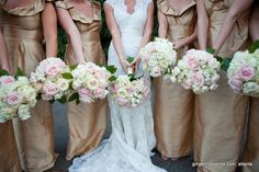 white and blush bouqets, pink O'hara roses, branches
