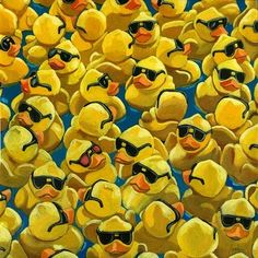 Rubber Ducks - Rose Colored Glasses, painting by artist Linda Apple
