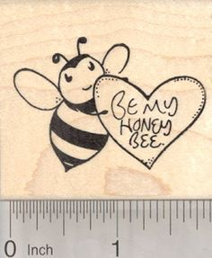 Valentines Day Bee Rubber Stamp with Heart Be my Honey Bee ** Read more reviews of the product by visiting the link on the image.