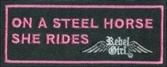 """RebelGirl.com & American-Rebel.com: Womens Motorcycle Embroidered Patch """"STEEL HORSE SHE RIDES"""", Patches, 1980"""
