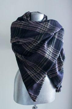 Scarf Handmade Plaid Blanket Scarf Tweed Purple Creme by Urbe