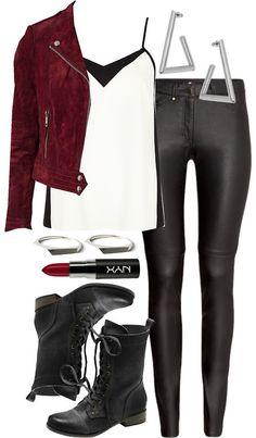 River Island top, $27 / Jofama motorcycle jacket, $515 / H&M black pants, $41 / Vince Camuto ankle booties / Flashy Era silver jewelry / Miss Selfridge stud earrings / NYX red lipstick, $44