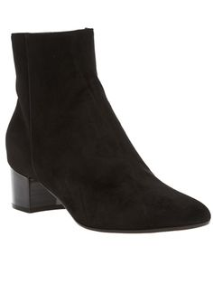 Black suede 'Stivale' ankle boot from Gianvito Rossi featuring a round toe, an inside zip fastening, seam detail to the side, a contrasting black vanished stacked wooden heel and a leather sole.