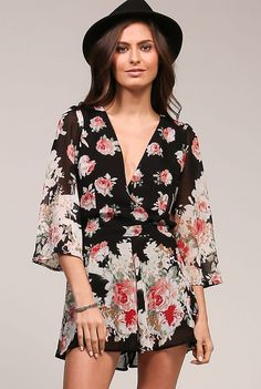 UNIQ 'Palermo Rose' Romper - Visit Palermo, Italy and take in the outdoor markets in this beautiful rose print romper this summer and feel carefree as you roam the streets! This one piece option has 3/4 sheer bell sleeves and a deep v neckline. This flowy outfit looks great with flat ballet shoes or heels and is versatile from day to night to enjoy the local opera houses! Available in Black. Slightly sheer. 100% Polyester.