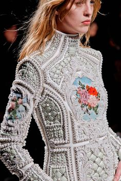 BALMAIN & DETAILS Pony hair, embroidered Blue Jays, quilting, leather, pearls, cross-stitched roses, military accents…