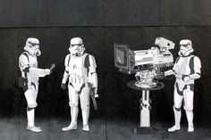 """Banksy's """"Stormtroopers Filming Oscars"""" appeared just four miles south of the world-famous Hollywood district in Los Angeles, California."""