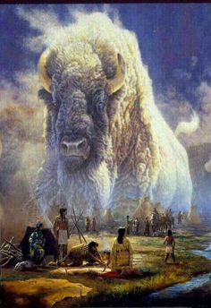 The Spirit Of The Great White Buffalo. Native American Paintings, Native American Wisdom, Native American Pictures, Indian Pictures, Native American History, Native Indian, Native Art, American Indian Art, American Indians