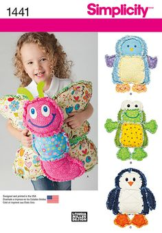 """cozy butterfly, frog, penguin or bird pillows are made from cotton flannel using rag quilting techniques - perfect for snuggling up on cool nights. sewing pattern by longia miller for simplicity.<p> </p><img src=""""skins/skin_1/images/icon-printer.gif"""" alt=""""printable pattern"""" /> <a href=""""#"""" onclick=""""toggle_visibility('foo');"""">printable pattern terms of sale</a> <div id=""""foo"""" style=""""display:none; margin-top: 10px;"""">digital patterns are tiled and labeled so you can print and assembl..."""