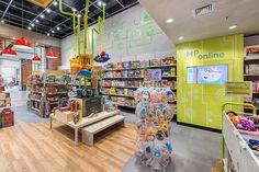 MP Brinquedos - Estúdio Jacarandá Shop Lego, Industrial Loft, Toys Shop, Header, Scenery, Shops, Concept, Interior Design, Toy Store