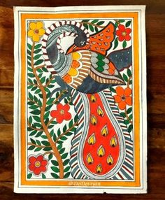 Simple Canvas Paintings, Bird Paintings On Canvas, Fabric Painting, Kerala Mural Painting, Doodle Art Drawing, Painting Prints, Madhubani Painting, Tribal Art Drawings, Folk Art Painting