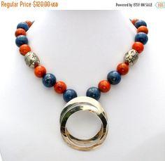 Sale Gemstone Necklace Blue Lapis Luzuli by TheJewelryLadysStore