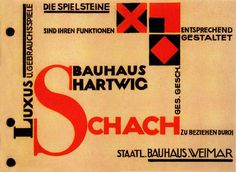 Joost Schmidt, advertising for Bauhaus produced chessboard, 1923