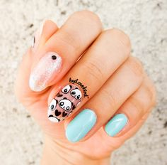 Cute panda nail art byLovebird  #nails #nailart #notd #nailswag #nailinspiration #cute #panda #fashion #style #summer #summernails #art #nailitdaily