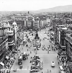 """photo: """"View from Nelson's Pillar, Dublin, Ireland - Century Via National Library of Ireland Old Pictures, Old Photos, Vintage Photos, Photo Engraving, Dublin City, Road Trippin, Paris Skyline, Past, Buses"""