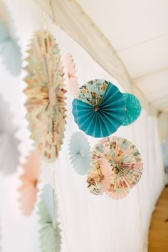 DIY Hanging Paper Fans   Pronovias Gown   Rustic Wild Flower Wedding   River…