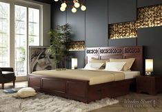 This amazing dark bedroom furniture can be an inspirational and top notch idea King Bedroom Sets, Wooden Bed Design, Bedroom Design, Bed Furniture Design, Dark Bedroom Furniture, Furniture, Bedroom Bed Design, Bed Storage, Simple Bedroom Design