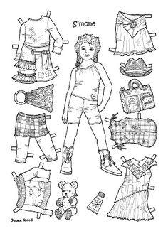 Karen`s Paper Dolls: Simone 1-6 Paper Doll to Colour. Simone 1-6 påklædningsdukke til at farvelægge.