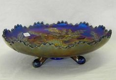 Lot # : 33 - Stag & Holly lg size IC shaped ftd bowl - blue