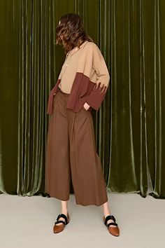 Pantalone cropped in misto lana gessato
