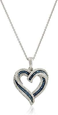 Sterling Silver Blue and White Diamond Heart Pendant Necklace cttw), Heart Pendant Necklace, Blue Necklace, Quality Diamonds, Body Jewelry, Women's Jewelry, Silver Diamonds, Diamond Heart, Sterling Silver Necklaces, Fashion Jewelry