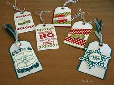 Tags by the dozen using the Stampin' Up! Christmas Tagables photopolymer set and the Stamp a Tag kit