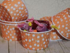 12 Peach Polka Dots Paper Candy Cup  Dessert Cups  by SpiralSage, $3.00