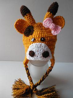 Giraffe Girl Hat - Giraffe Hat with Pink Bow - Earflap Hat - Adult Animal Hat - Handmade Crochet - Made to Order (24.00 USD) by ShelleysCrochetOle