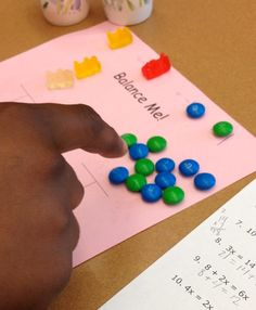 Solving Multi Step Equations with Candy (Day 1 of Students will conceptualize the process of solving a linear equation by representing variables and constants with candy. Balancing Equations, Solving Linear Equations, Algebra Equations, Algebra 1, Equation Solving, Algebra Activities, Math Resources, Teaching Math, Math Games