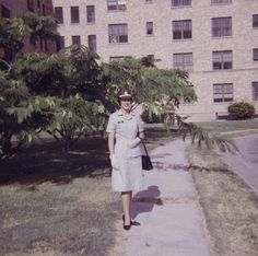 Alice Park Fairbrother in front of Base Officer's Quarters, circa 1966 - The Betty H. Carter Women Veterans Historical Project - University Archives - University Libraries