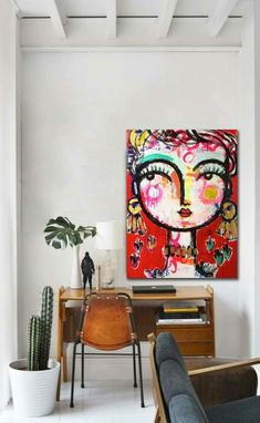 : Easter- Industrial Trends For Your Dining Room Decor - Great modern desk/office area. The desk chair is such an awesome statement piece. Tableau Pop Art, Images D'art, Frida Art, Painting Inspiration, Art Pictures, Creative Art, Cool Art, Art Projects, Canvas Art