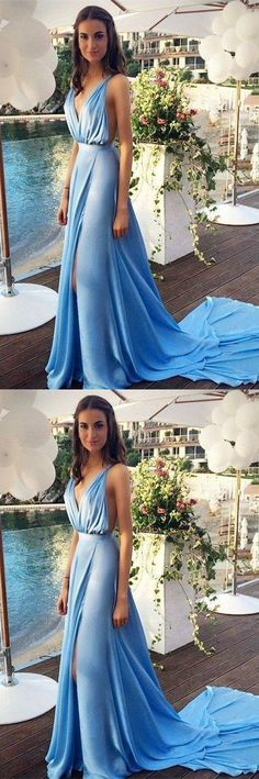 Blue Prom Dresses,Chiffon Evening Dress,Slit Prom Gowns,V neckline Prom Gown,Beautiful Formal Gown,Prettiest Evening Dress, M1460#prom #promdress #promdresses #longpromdress #promgowns #promgown #2018style #newfashion #newstyles #2018newprom #eveninggown #bluepromdress #chiffon #slit #vneckline
