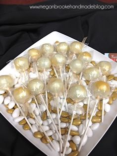 Gold Glitter Cake Pops | Nashville Cake Pops supplied us with the treats. They were sooo good ...