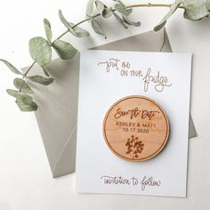 Laser engraved wood save the date magnets with brush lettering and silver dollar eucalyptus illustration by Paper Sushi Wedding Vows, Destination Wedding, Wedding Planning, Wedding Day, Wedding Things, Wedding Stuff, Bush Wedding, Wedding Bells, Wedding Anniversary