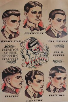 Not really for the girls but love this old poster on how men should style their hair!!!!