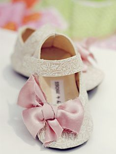 Pink satin & lace crib shoes