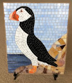 Puffin on Rock Mosaic HCBCC by LachanceGlassMosaic on Etsy