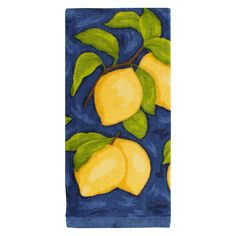 The KitchenSmart Colors Painterly Lemons Fiber Reactive Kitchen Towel in Navy is constructed from plush, absorbent Cotton terry. The fiber reactive process ensures the color stays bright and long-lasting. Lemon Kitchen Decor, Navy Kitchen, Yellow Kitchen Decor, Kitchen Themes, Kitchen Layout, Basement Kitchen, Kitchen Ideas, Rustic Country Kitchens, Country Kitchen Designs