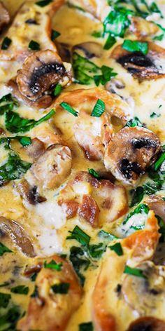 Chicken Breast Mushroom Recipe, Chicken Spinach Mushroom, Chicken Thighs Mushrooms, Creamy Mushroom Sauce, Bacon Stuffed Mushrooms, Chicken Thigh Recipes, Spinach Stuffed Chicken, Stuffed Peppers, Chicken Peppers Mushrooms Recipe