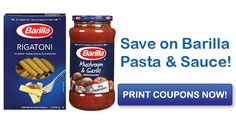 Save on Barilla Blue Box Pasta & Sauce with Printable Coupons Print Coupons, Printable Coupons, Printables, Barilla Pasta Sauce, Mushroom Pasta, Grocery Coupons, Blue Box, Stuffed Mushrooms, Drinks