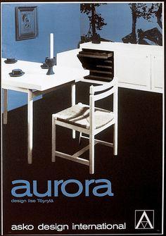 Asko design international, aurora pöytä, Design Ilse Töyrylä - Askon vanha mainos