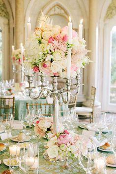 elegant white and pink candelabra centerpiece ~ we ❤ this! moncheribridals.com