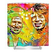 The Rolling Stones Pop Art Painting Shower Curtain by Daniel Janda