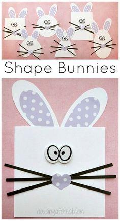 Shape Bunny Craft ~ Easter activity for preschoolers
