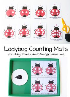 These ladybug preschool counting mats crafts are perfect to work on a child's early preschool math skills, one on one correspondence, fine motor skills and visual perception. This educational activity is great for toddlers and preschoolers who love playing with playdoh and can be used to fingerpaint too. You could also use other paint materials like do a dot markers. I love open ended printable activities.