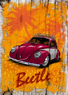 VW Beetle in surf style. Custom prints personalised to match your VW can be… Car Volkswagen, Vw Cars, Vw T1, Vw Beetles, Carros Retro, Rodan And Fields Reverse, Vw Vintage, Types Of Colours, Even Skin Tone