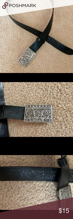 """Celtic Design Belt Black leather belt with Celtic thistle tooling. Silver color buckle has the thistle design as well. This belt is 47"""" long encluding buckle and 1 1/2"""" wide. Accessories Belts"""