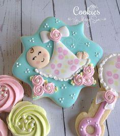 Cookies by Missy Sue: baby shower Fancy Cookies, Iced Cookies, Cute Cookies, Royal Icing Cookies, Cookies Et Biscuits, Sugar Cookies, Galletas Decoradas Baby Shower, Galletas Cookies, Baby Girl Cookies
