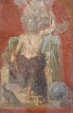 Jupiter in a wall painting from Pompeii, with eagle and globe
